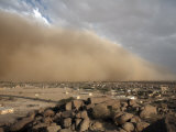 Sandstorm Approaches the Town of Teseney  Near the Sudanese Border  Eritrea  Africa