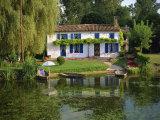 House with Pond in Garden  Coulon  Marais Poitevin  Poitou Charentes  France  Europe