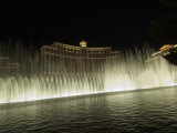 Bellagio Hotel at Night with its Famous Fountains  the Strip  Las Vegas  Nevada  USA
