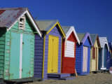Row of Beach Huts Painted in Bright Colours  Brighton Beach  Near Melbourne  Victoria  Australia