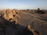 Desolate Landscape of Lac Abbe  Dotted with Limestone Chimneys  Djibouti  Africa