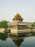 Reflection of the Palace Wall Tower in the Moat of the Forbidden City Palace Museum  Beijing  China