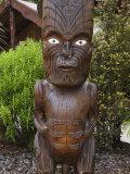 Carved Wood Figures  Te Puia Maori Village  Rotorua  Taupo Volcanic Zone  North Island  New Zealand