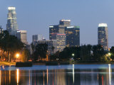 Downtown District Skyscrapers Located Behind Echo Park Lake  Los Angeles  California  USA