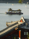 Chinese Style Boats on a Lake in Beihai Park  Beijing  China