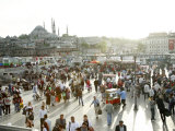 People at Eminonu Square in the Old Town  Istanbul  Turkey  Europe