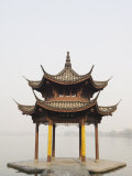 Pavilion Early in the Morning on West Lake  Hangzhou  Zhejiang Province  China