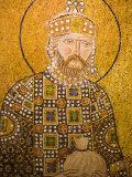 Mosaic of John the Baptist Inside Aya Sofya  Istanbul  Turkey