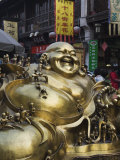 Golden Statue of a Reclining Laughing Buddha  Hangzhou  Zhejiang Province  China