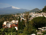 View over Taormina and Mount Etna  Sicily  Italy  Europe