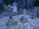 Frost on Headstones and Gravestones in a Graveyard at Ossington  Nottinghamshire  England