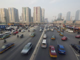 Traffic in the Cbd Business District  Guomao Area  Beijing  China