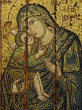 14th Century Icon of the Virgin Episkepis  in the Byzantine Museum in Athens  Greece  Europe