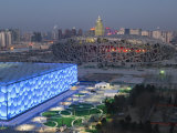 Water Cube National Aquatics Center and National Stadium at the Olympic Park  Beijing  China