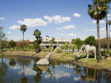Model Elephants in La Brea Tar Pits  Hollywood  Los Angeles  California  USA