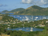 Aerial View over Falmouth Bay  with Moored Yachts  Antigua  Leeward Islands  West Indies  Caribbean