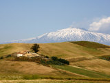 Landscape around Enna with Mount Etna in the Background  Enna  Sicily  Italy  Europe