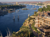 View from the New Cataract Hotel of the River Nile at Aswan  Egypt  North Africa  Africa