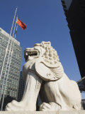 Stone Lion Statue in the Cbd Business District  Beijing  China
