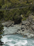 Suspension Bridge on Rob Roy Glacier Hiking Track  Mount Aspiring National Park  New Zealand