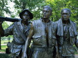 Close-Up of Statues on the Vietnam Veterans Memorial in Washington DC  USA