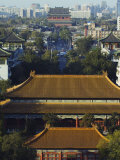 Temple Buildings in Jingshan Park Looking Down to the Drum Tower in the Distance  Beijing  China