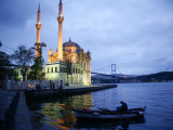 Ortakoy Mecidiye Mosque and the Bosphorus Bridge  Istanbul  Turkey  Europe