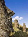Giant Monolithic Stone Moai Statues at Rano Raraku  Rapa Nui  Chile