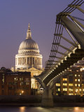 Millennium Bridge and St Pauls Cathedral  Illuminated at Dusk  London  England  United Kingdom