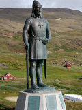Statue of Leif Eriksson  Son of Erik the Red in Qassiarsuk  South Greenland  Polar Regions