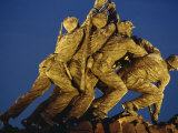 Statues of the US Marine Corps on the Iwo Jima Memorial at Night in Arlington  Virginia  USA