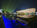 Night Time Light Show at the Birds Nest Stadium During the 2008 Olympic Games  Beijing  China