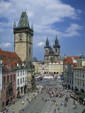 Stare Mesto Square  the Gothic Tyn Church and Town Hall in the City of Prague  Czech Republic