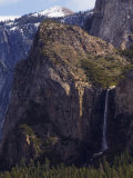 Bridal Veil Falls and Half Dome Peak in Yosemite Valley  Yosemite National Park  California  USA