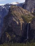 Bridal Veil Falls and Half Dome Peak in Yosemite Valley  Yosemite National Park  California  USA