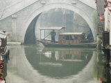 Stone Arched Bridge and River Boat  Shantang Water Town  Suzhou  Jiangsu Province  China