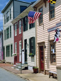 American Flag on Wooden Buildings on a Street in Annapolis  Maryland  USA