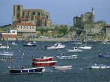 Moored Boats and the 12th Century Church of Santa Maria  Castro Urdiales  Cantabria  Spain
