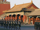 Military Soldiers Drill Marching Outside the Forbidden City Palace Museum  Beijing  China