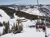 Skiers Being Carried on a Chair Lift to the Back Bowls of Vail Ski Resort  Vail  Colorado  USA