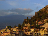 Aerial View over Town of Taormina at Dusk  Including Mount Etna  3340M  in Distance  Sicily  Italy