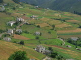 Fields  Farms and Houses in the Navia Valley  in Asturias  Spain  Europe