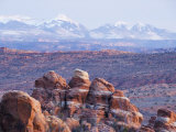 Fiery Furnace  and Mountains of Manti-La Sal National Forest  Arches National Park  Utah  USA