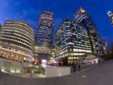 Financial District Office Buildings Illuminated at Dusk  Canary Wharf  Docklands  London  England