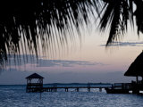 People in Beach Bar Near the Moorings at Sunset  Placencia  Belize  Central America