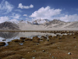 High Mountain Lake and Mountain Peaks  Beside the Karakoram Highway  China