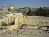 Western or Wailing Wall  with the Gold Dome of the Rock  Jerusalem  Israel