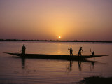 Children on Local Pirogue or Canoe on the Bani River at Sunset at Sofara  Mali  Africa