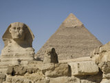 Sphinx and the Pyramid of Cheops  Giza  UNESCO World Heritage Site  Near Cairo  Egypt