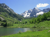 Maroon Lake Near Aspen  Colorado  United States of America  North America